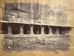 View from the north-east of the entrance to Cave III, Badami, Bijapur District.